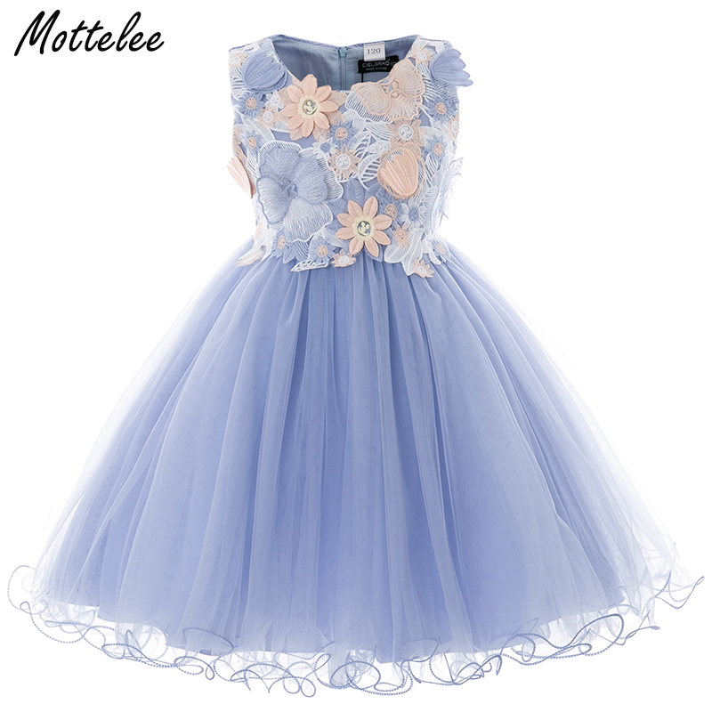 Kids Girls Flower Dress Baby Butterfly Birthday Party Dresses Children Fancy Princess Ball Gown Frocks Wedding Clothes for Girl