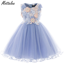 купить Kids Girls Flower Dress Baby Butterfly Birthday Party Dresses Children Fancy Princess Ball Gown Frocks Wedding Clothes for Girl дешево