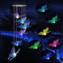 Энергосберегающий светодиодный светильник, меняющий цвет на солнечной батарее, с изображением бабочек, ветряных колокольчиков, балконов, декора детской комнаты, садовый подвесной светильник, украшение лампы