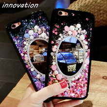 Innovation Glitter Quicksand Cover For iPhone 7 6 6S Plus Phone Back Cases Dynamic Liquid Mirror Rhinestone Bling Flowers Fundas