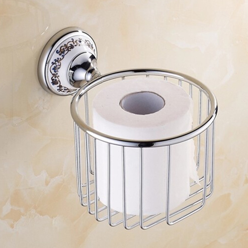 Antique Polished Ceramic Toilet Paper Holder Luxury Silver Paper Box Wall Mounted Bathroom Hardware sets Products modern chrome polished sus304 stainless steel toilet paper holder with cover wall mounted bathroom hardware sets wd51