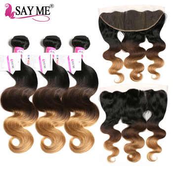 Blonde 13x4 Lace Frontal Closure With Bundles Body Wave Human Hair Ombre Brazilian Hair Weave Bundles With Closure SAY ME Remy - DISCOUNT ITEM  40% OFF All Category