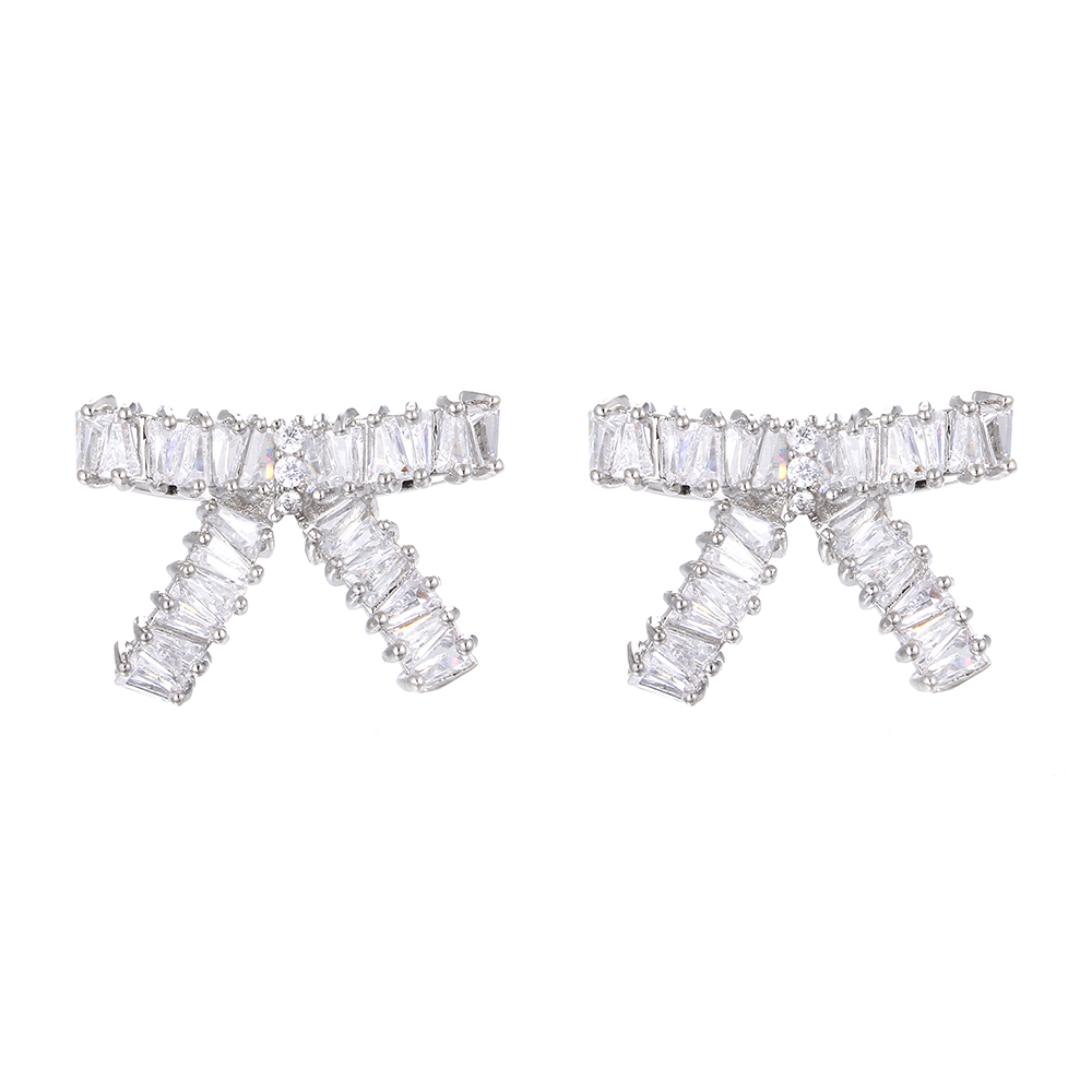 Fashion Silver Color AAA Cubic Zircon BowKnot Stud Earrings For Women Korean Style Wedding Party Jewelry Accessory Dropshipping