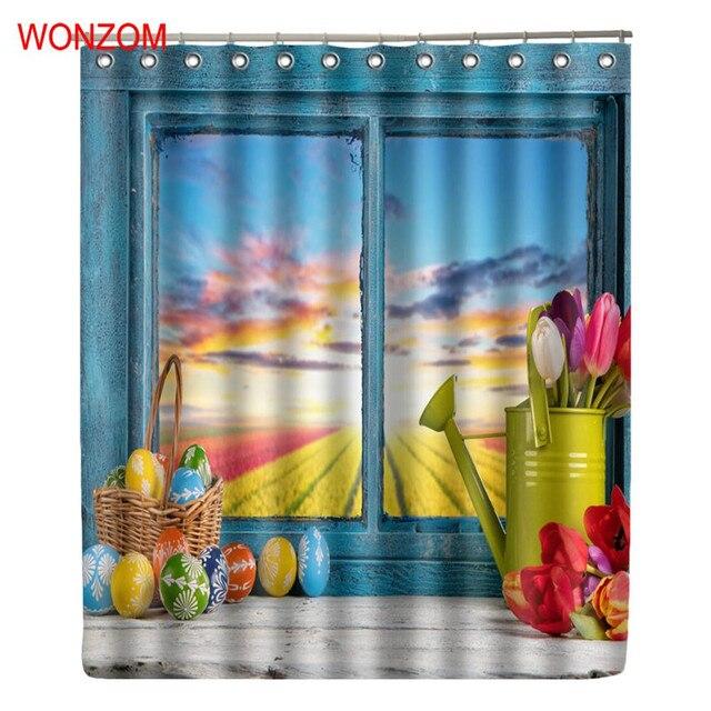 Wonzom Colourful Window Shower Curtains With 12 Hooks For Bathroom Decor Modern Bath Waterproof Curtain New