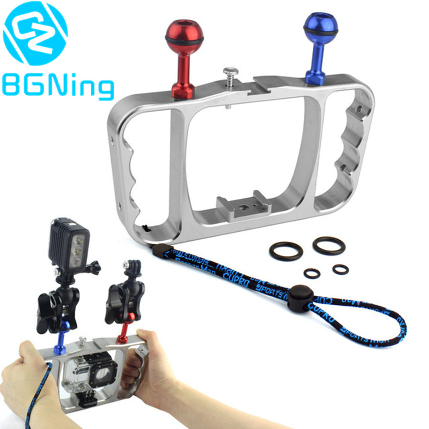 CNC Aluminum Diving Photography Bracket Frame Mount Kit for GOPRO HERO 3+ 4 5 Session yi Action Camera Dive Fill Light Accessory high precision cnc aluminum alloy lens strap ring for gopro hero 3 red