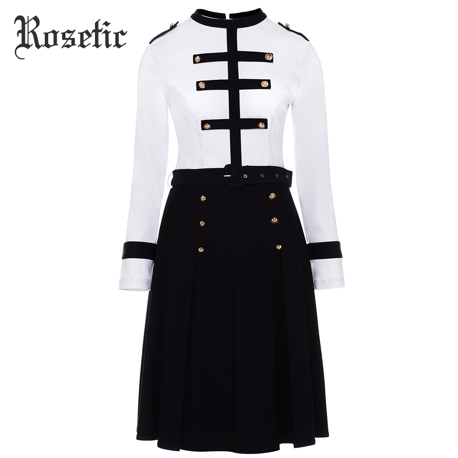 Rosetic Gothic Vintage Dress Women White Autumn Patchwork A-Line Belts 60s Slim Preppy Fashion Retro Casual Military Goth Dress