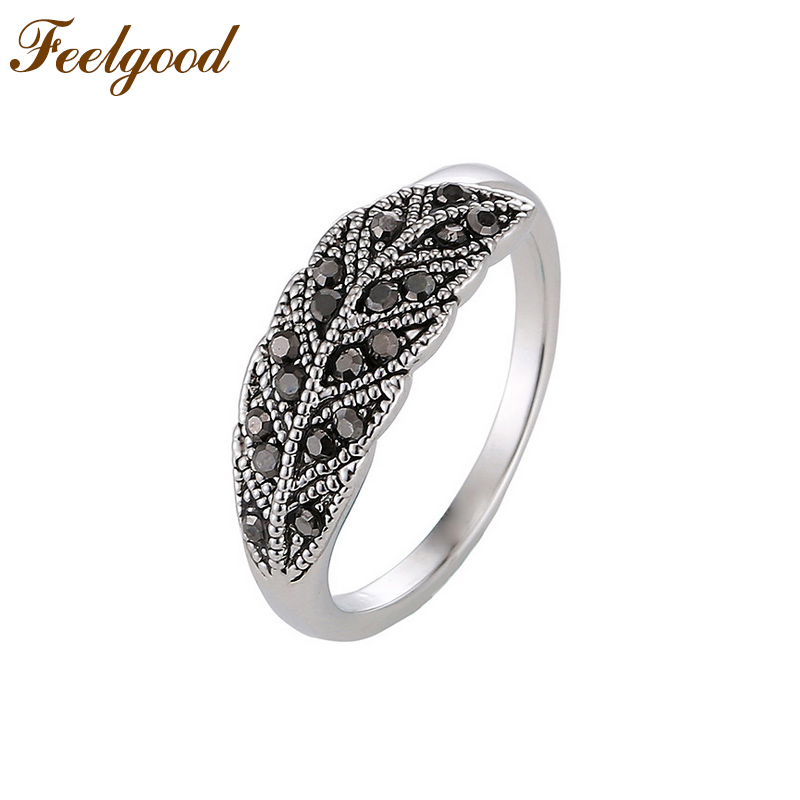 Feelgood Vintage Style Fashion Jewelry Exquisite Leaf Ring With Black Rhinestone For Girl And Lady Women Accessories
