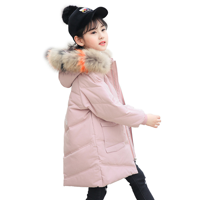 Girls Thickening Warm Down Jackets Boys Long Big Fur Hooded Outerwear Coats Kids Fashion Casual Comfortable Clothing AA51910 olgitum 2017 women vest jackets new fashion thickening solid casual cotton fashion hooded outerwear