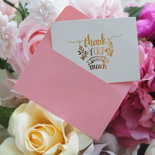 25pcs Mini thank you Card gold with pink envelope leave message cards Lucky Love valentine Christmas Party Invitation Letter