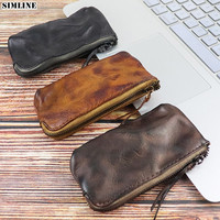 Genuine Leather Coin Purse Wallet Women Men Vintage Handmade Small Mini Wallets Card Holder Bag Case Zipper Change Purses Female