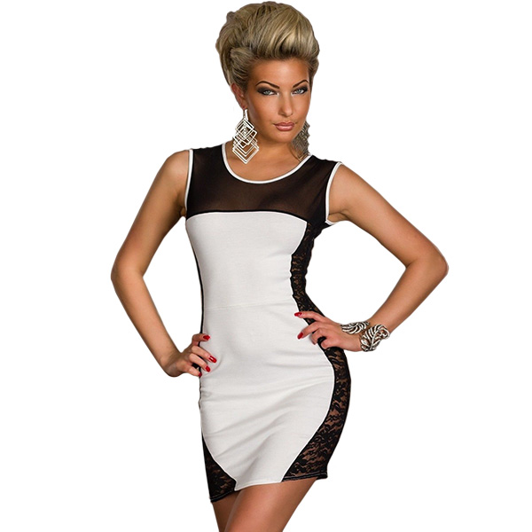 Cheap Price Sexy White Bodycon Dress Cut Out Black Lace Side New Fashion Vestidos De Festa Sexy Bandage Club Dress