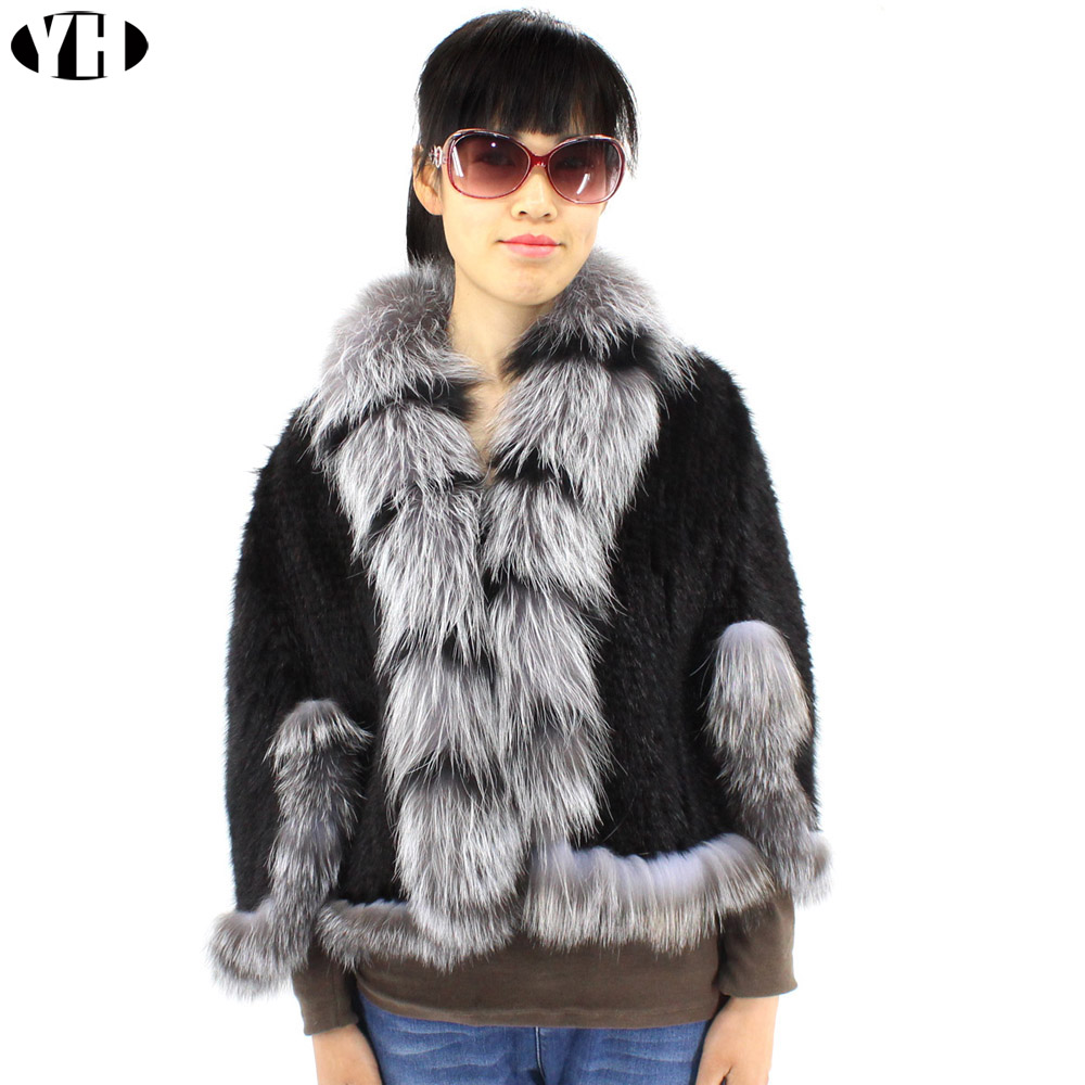 Winter Women s Real Knitted Mink Fur Shawl With Big Fox Fur Collar Capes Bat Sleeve