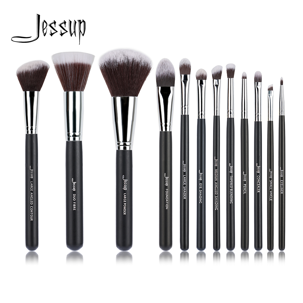 Jessup Brand 12pcs Black/Silver Professional Makeup Brushes Brush set Beauty Make up Cosmetics kit Eyeshadow Foundation blusher new jessup brand 5pcs black silver professional makeup brushes set cosmetics tools beauty make up brush foundation blush powder