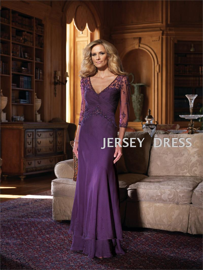 Free Shipping New 2017 Purple Party V-neck Bridal Vestidos Formales Chiffon Long Sleeve Floor Length Mother Of The Bride Dresses