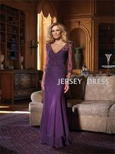 free shipping new 2013 Purple party V-neck bridal vestidos formales chiffon long sleeve floor length Mother of the Bride Dresses