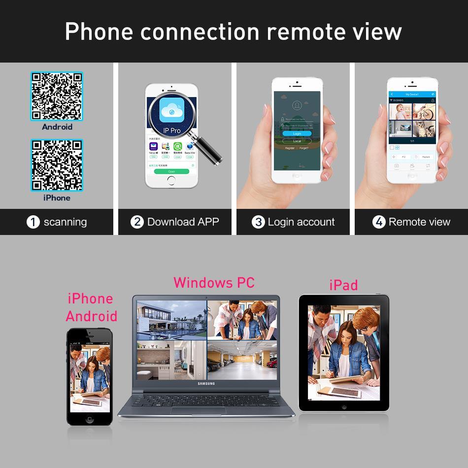 Hiseeu Wireless NVR 1080P HD Outdoor Home Security Camera System 4CH CCTV Video Surveillance NVR Kit 1080P Wifi Camera Set black