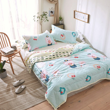 Cartoon Printed Summer Comforter Bedding Sets Animal Cute Pig Kids Adult Single Double Size Bed Linens Washable