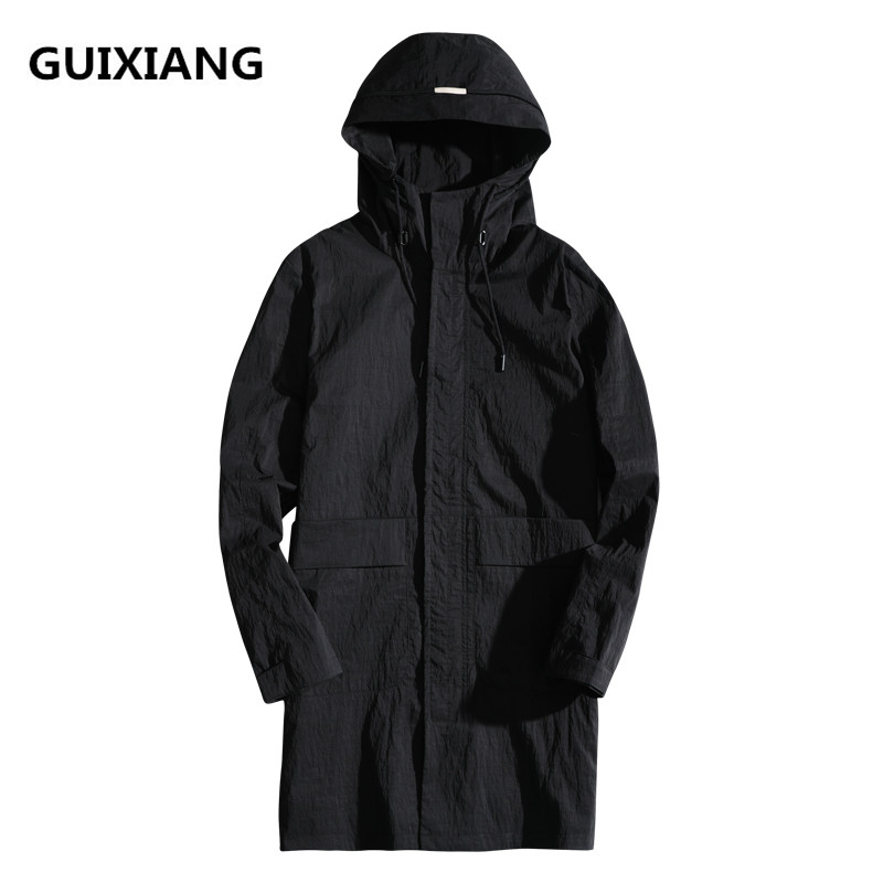 2018 primavera y otoño nuevo estilo abrigos Moda hombre casual estilo largo con capucha gabardina chaquetas hombres tamaño M-4XL envío gratis