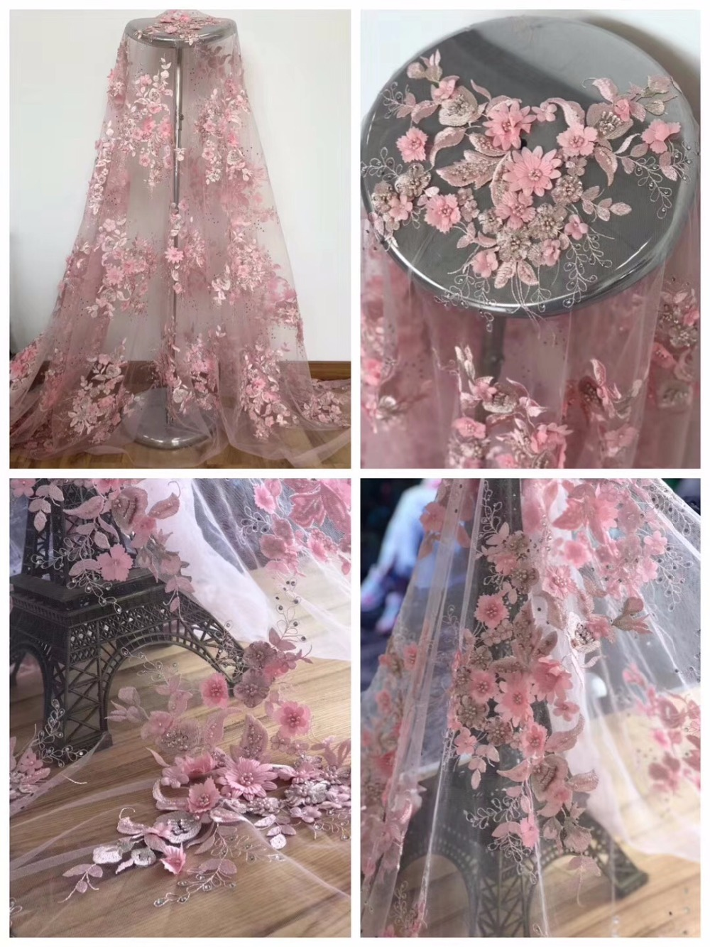 Latest style Valentino Pink bead French lace delicate 3D sequined 3d flower heavy embroidered flower fabric