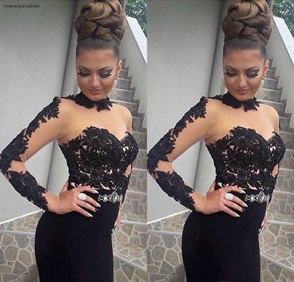 Stylish High Neck Prom Dresses Sexy See Through Tulle Mermaid Long Prom Party Dress Glamorous Appliques Long Sleeve Zipper Evening Dress 105 (4)