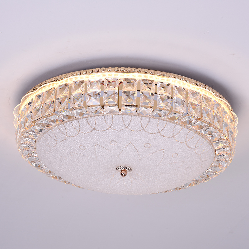 Modern Simple Led ceiling light Glass Crystal WROUGHT IRON Round Creative Luxury Restaurant Balcony Bedroom Living roomModern Simple Led ceiling light Glass Crystal WROUGHT IRON Round Creative Luxury Restaurant Balcony Bedroom Living room