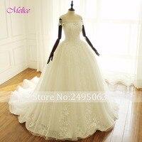 Dreagel Romantic Boat Neck Off The Shoulder Ball Gown Wedding Dresses 2017 Appliques Lace Princess Wedding