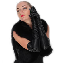 women super long above elbow opera top real lamb skin lines leather gloves in black