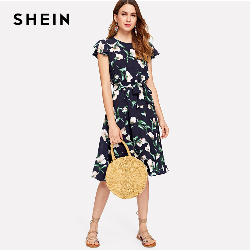 2be342799190 SHEIN Multicolor Vacation Boho Bohemian Beach Flutter Sleeve Self Belted  Ruffle Hem Round Neck Dress Summer Women Casual Dresses-in Dresses from  Women s ...