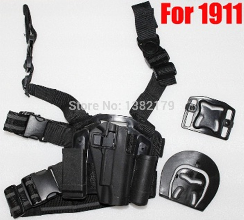 For 1911 Type Tactical Airsoft Paintball Drop Leg Right handed holster Set W Panel Mag Flashlight