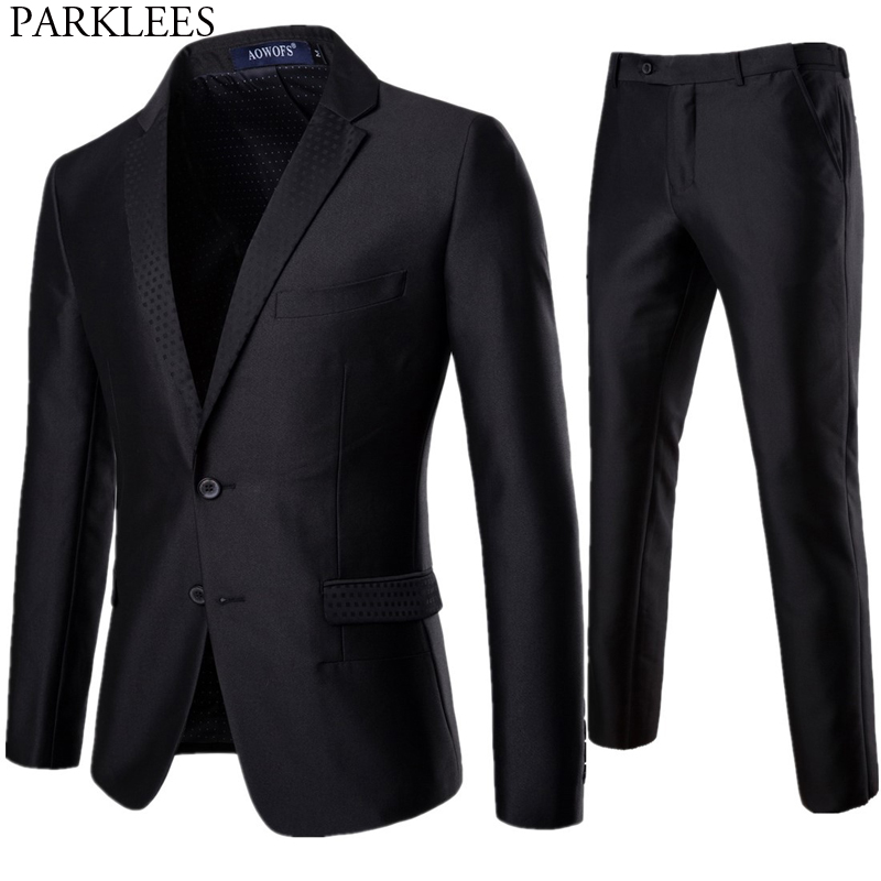 Men's 2pcs Black Wedding Groom Suit With Pants 2019 Spring New Slim Fit One Button Party Formal Business Dress Suit Male Ternos