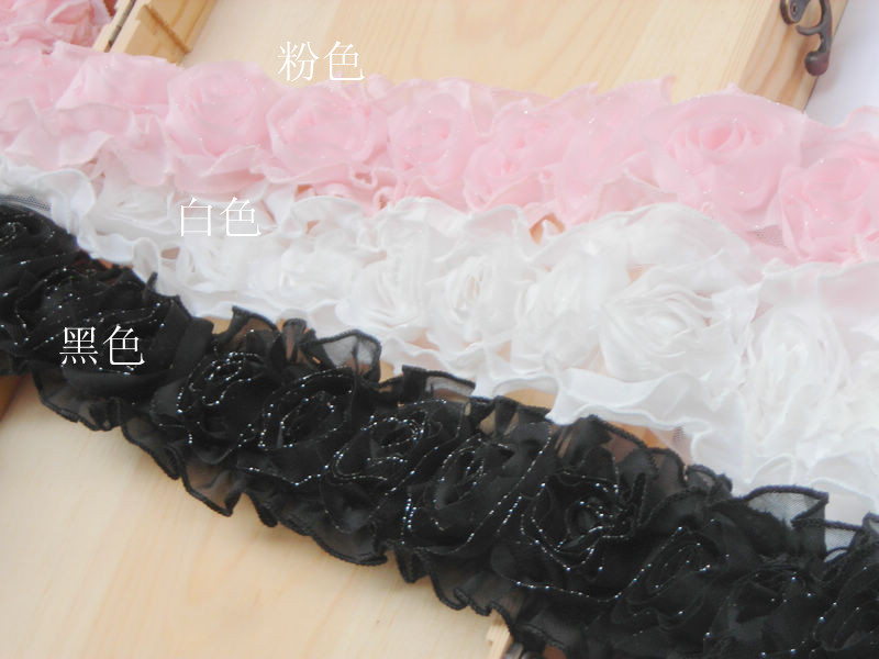 2m/pack 7cm Wide polyester stereo lace trims DIY rose flower lace ribbons accessary, free shipping
