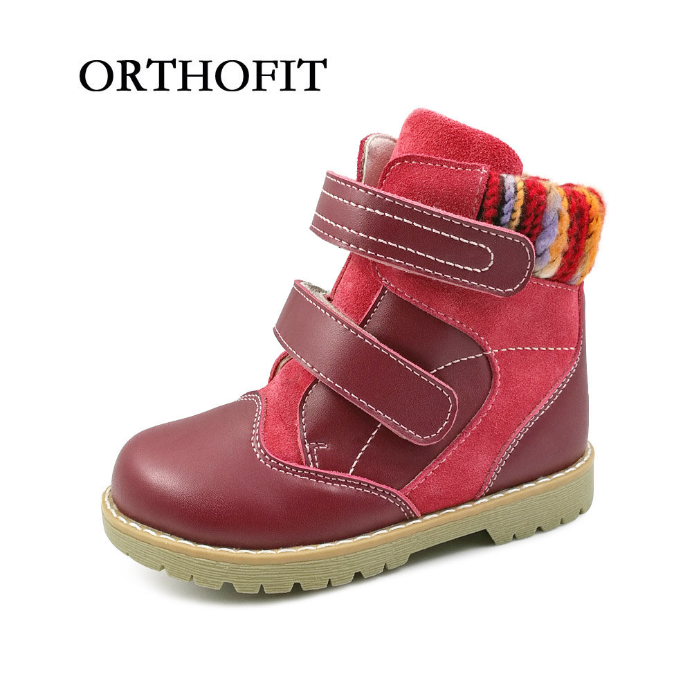 Good quality children genuine leather orthopedic footwear girls spring winter shoes kids red synthetic fur ankle boots shoes uovo children winter shoes kids fox fur walking shoes girls snow shoes mid cut footwear for kids winter hiking boots for girls