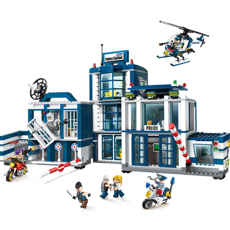951pcs Children s building blocks toy Compatible city Police Series Mobile SWAT Headquarters DIY figures Bricks