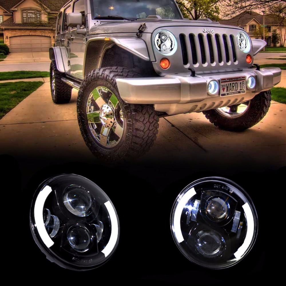 7'' inch Round LED Headlights Halo Ring DRL With Angel Eyes Fits for H6024 97-15 Jeep Wrangler JK CJ Hummer 7 inches led starry headlights with devil demon eye and led angel for jeep wrangler jk 2 pcs