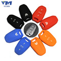 4 Colors Optional Silicone Car Key Cover Case Holder For 3 Buttons Citroen C4 C5 DS3 DS5 ect. Smart Key Metal Key Chain