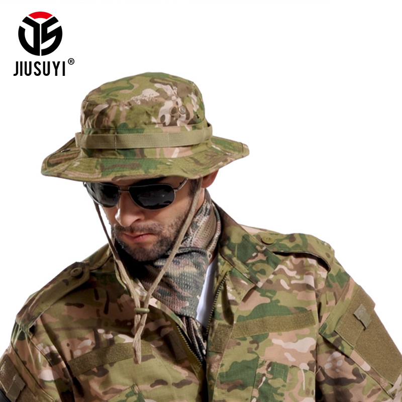 a8d6054a449 Multicam Tactical Airsoft Sniper Camouflage Bucket Boonie Hats Nepalese Cap  SWAT Army American Military Accessories Summer