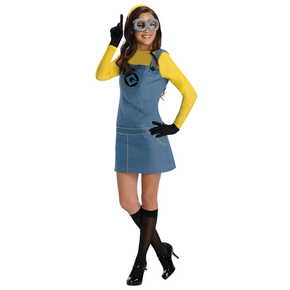 Cute Yellow Minions Costume Blue Overall Suspender Skirt Lovely Minions Girl Fancy Dress Halloween Costumes for Women