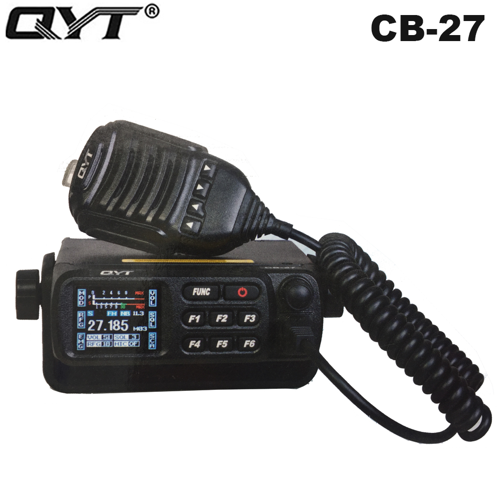 New QYT CB-27 Car CB Mobile Radio CITIZEN BAND ALL European MULTI-NORMS CB Transceiver AM/FM 12/24V 4W 26.965-27.405MHz Intercom