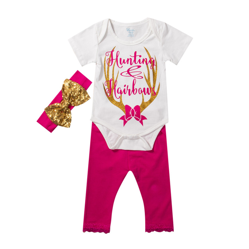 New Style Cute Newborn Baby Girls Clothes Deer Short Sleeve Romper+Pink Pant+Headband 3Pcs Outfits Xmas Baby Clothing Set