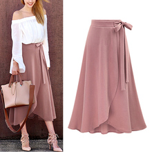 Hot Women Summer High Waist Skirt Female Irregular Split Long Skirt Bind Belt Skirts HD88 self belt ruffle waist high split skirt