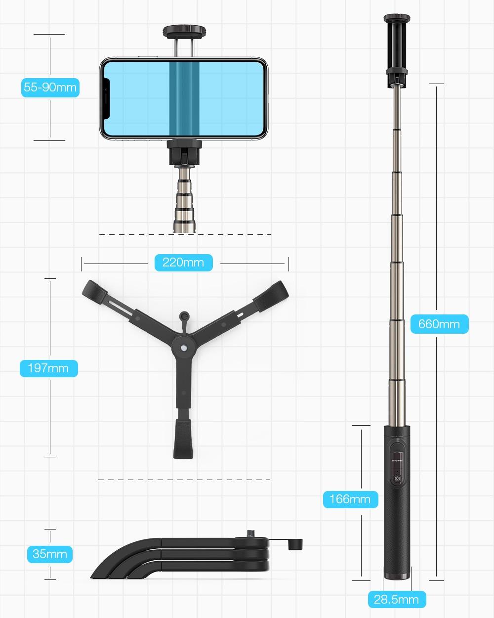 Blitzwolf bw-bs9 all in one mini bluetooth selfie stick monopod tripod integrated detachable tripods selfie sticks for iphone (black)