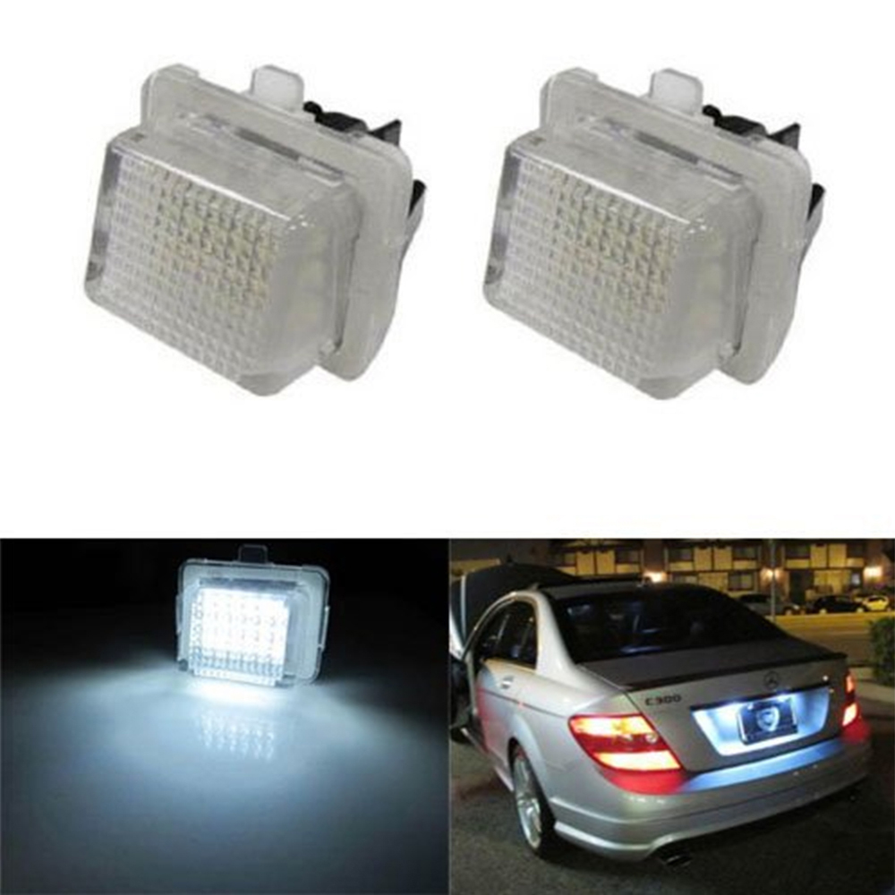 2 x LED Number Car License Plate 12V 18 LED SMD 3528 Lamps For Mercedes W204 W212 W221 W216 W207 AMG Benz