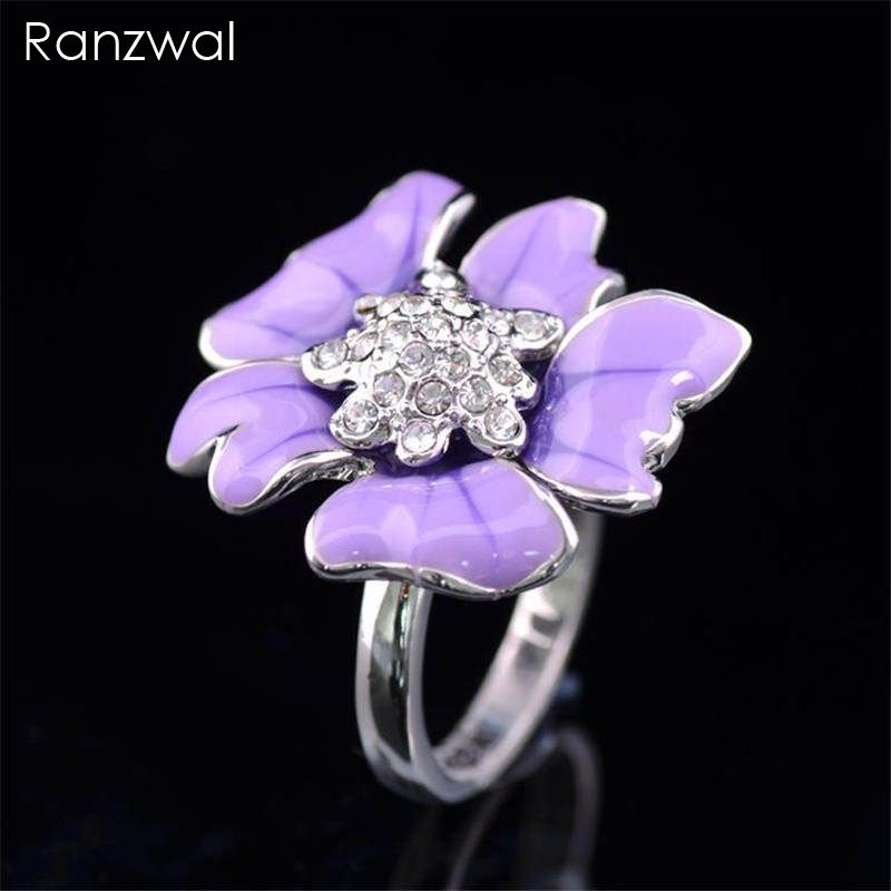 Ranzwal Elegant Purple Enamel Flower Rings for Women ...