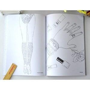 Image 2 - 패션 소녀 성인을위한 색칠하기 책 antistress 릴리프 스트레스 낙서 그림 그리기 책 libros de pintar para adultos