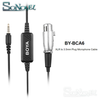 BOYA BY BCA6 Microphone Adapter 20ft Cable 3.5mm Stereo Headphone Jack to XLR Input for iPhone X 8 plus 6S IOS Android Cellphone