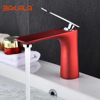 BAKALA Free Shipping New arrival Bathroom RED Basin Faucet Gold finish Brass Mixer Tap with ceramic torneiras para banheiro