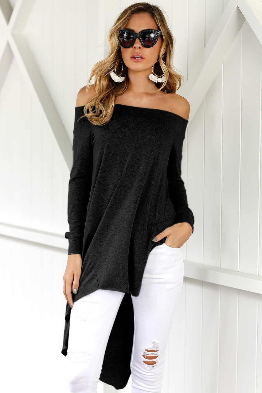 Женская футболка, новинка, европейский стиль, сексуальная, с воротником-лодочкой, необычная, женская футболка, плюс размер, длинный рукав, женская футболка, vestidos SY1101