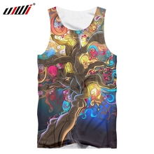 UJWI 2019 Factory Direct Supply Original Sample Design 3D Colorful Tree Print Tank Top Oversized Vest Wholesale