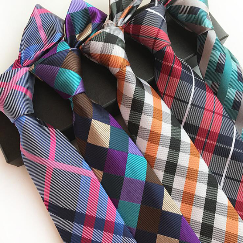 Fashion 8cm Silk Tie Balck Bule Plaid Jacquard Weave Necktie For Men Business Wedding Party Formal Neck Ties Accessories