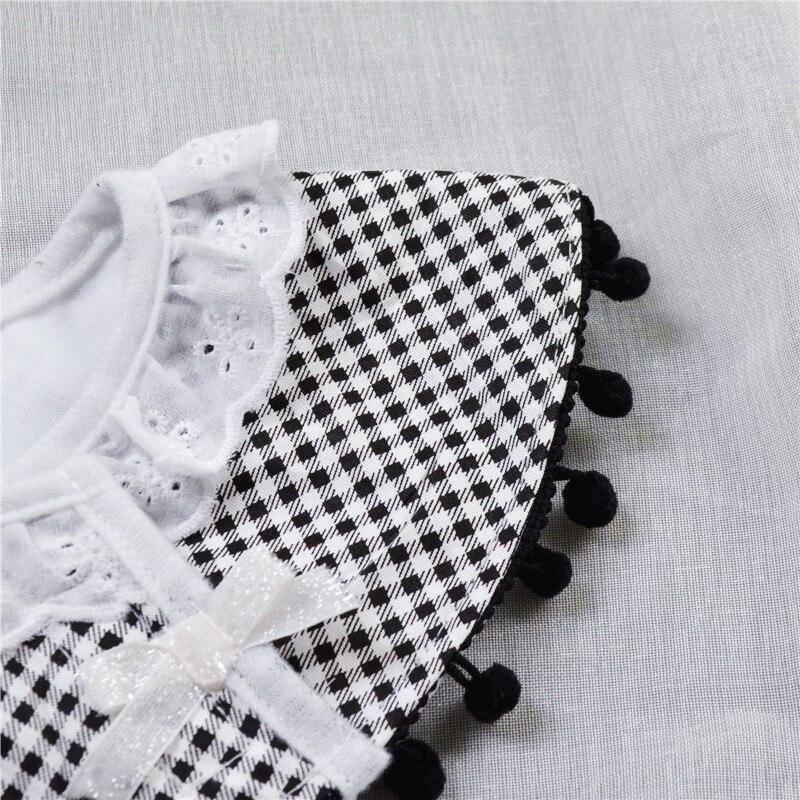 Nordic Style Infant Baby Eatting Bibs Plaid Black White Princess Lace Cotton Waterproof 360 Degree Round Bib (3)
